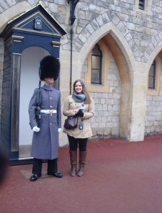 With a guard at Windsor Castle, Windsor, England. January 2013